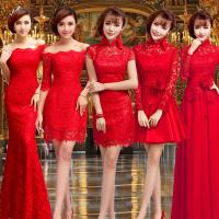 Quality Chinese Style Red Lace Bridal Dress Boat Neck Gorgeous Evening Dress TSJY094 for sale