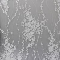 Quality Delicate Embroidery Polyester On Nylon Mesh Lace Fabric With 3D Flower Design for sale