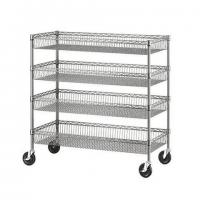 Quality Four Layers Wire Shelving Units With Castors / Grocery Display Wire Rack for sale