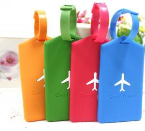 Quality Rectangle Soft PVC Luggage Tag Universal Silk Printed 12 x 6.5cm Eco-friendly for sale