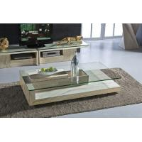 Modern Travertine Stone Coffee Table Rectangle Glass Center For