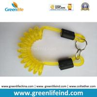 Quality Transparent Yellow Color Strong Coiled Cable Tool Lanyard w/Split Ring 2pcs for sale