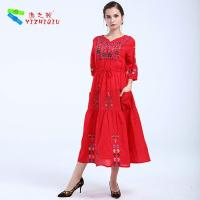 Quality YIZHIQIU embroidery floral boho dress for sale