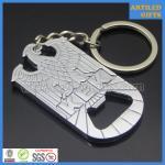 Quality Casting engraved KEK eagle design shiny nickle metal opener with key holder for sale