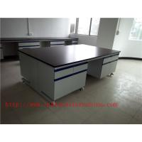 Quality 3750 mm  Wood Frame Blue /  White Science Lab Testing Tables Furniture For High School Lab for sale