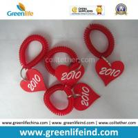 Quality Promotional Solid Red Wrist Coil Strap W/Heart Number Tag for sale