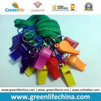 Quality High Quality Eco-friendly Plastic PS Colorful Whistles 5.6x1.8cm with Green Lanyard 45cm Length for sale