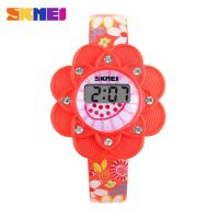 China Girl Red Sunflowers LCD Digital Watches SKMEI Silicone Bezel on sale