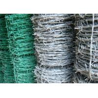 Quality BWG 8 - 20 Green Barbed Wire , Hot Dipped Galvanized Airport Security Fence for sale