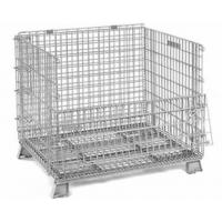 Quality Medium Duty 600lbs Collapsible Wire Container With Half Drop Gate Cold Galvanized Surface for sale