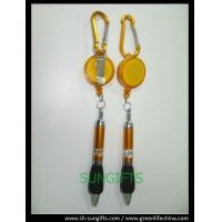 Quality Plastic translucent badge reel with belt clip, carabiner and ball pen for sale