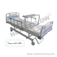 Quality Manual Three Crank Medical Hospital Bed With Foldaway Aluminum Alloy Guardrail , Overbed Table , Center Control Brake for sale