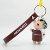 Quality Custom Soft PVC Starbucks Bear Figure Miniature Key Ring 3D Soft PVC Pendant Attached To Plastic Hook And Silicone Strap for sale