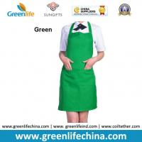 Quality Fashion lovely peak green kitchen cooking apron advertisment promotional apron with logo for sale