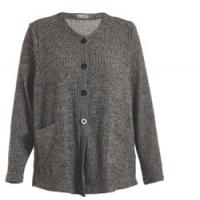 China Button Closure Grey Color Womens Knit Cardigan , Regular Ladies Autumn Cardigans on sale