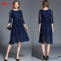 Quality Spring Elegant Black Cocktail Dress With Sleeves Half Sleeve Midi Red Lace for sale