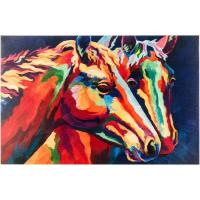 "China 23""x15"" Overall Size Decorative Hand Painted Abstract Canvas For Colorful Horses on sale"