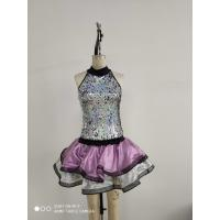 China Custom Show Dance Wear Lace 100% Polyester Silver And Purple Color on sale
