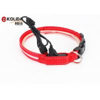 China Adjustable Safety Nylon Rechargeable LED Dog Collar With USB Cable on sale