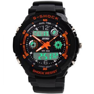 Quality Black Plastic Case Analog Digital Wrist Watch EL backlight 50M Water Resistant for sale