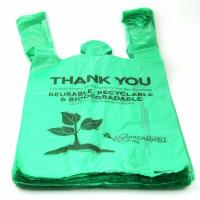 Quality 40 % Biobased Biodegradable Plastic Shopping Bags Green Color 16 / 18 Mic for sale