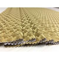 China Fashion Ladies Coat Polyurethane Synthetic Leather 0.5mm Gold Pearlied Peacock Tail Design on sale