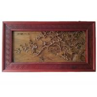 Wooden Carving Picture Plum Blossom Length 124cm Width 68cm Nanmu and Safflower Pear