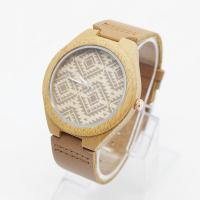 Quality OEM Logo Unisex Bamboo Wrist Watch Leather Belt Watches For Mens for sale