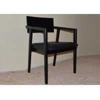 Best Black Solid Wooden Restaurant Dining Room Armchairs with PU Leather Upholstery wholesale