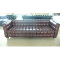 Quality Modern 3 Seater Leather Sofa , Solid Wood Legs Grid Sofa 228 * 88 * 79cm for sale
