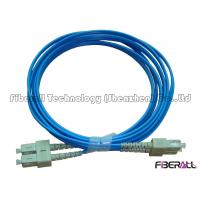 China 3.0mm Blue Jacket Fiber Optic Jumper Multimode Duplex Fiber Optic Cable Waterproof on sale