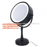 """Quality 7 inch makeup mirror with LED light/7"""" portable standing mirror stand mirror with hand held (black) for sale"""