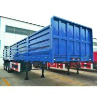Quality 60 Tons 3 Axle Flatbed Trailer , High Fence Sidewall Flatbed Container Trailers for sale