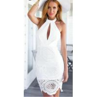 Quality Keyhole White Cut Out Bandage Dress Backless Kintted Technics for sale