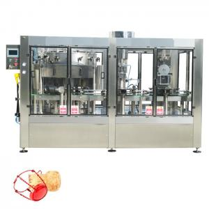 Quality Sparkling wine bottle filling machine automatic sparkling juice filling corking wire caging machine 3 in 1 mono block for sale