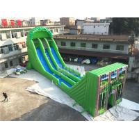 China Commercial Giant Inflatable Zip Line Slide For Adults Green Color on sale