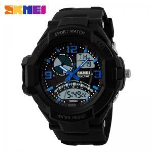 Quality Dual Time Zone Men Alarm Stopwatch , Date Analog Quartz Digital Wrist Watch for sale