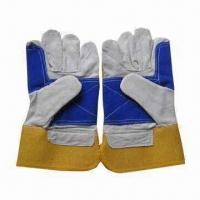 Quality Cowsplit Leather Gloves, Shirred Elastic on Back Knuckle, Size of 10.5 Inches for sale