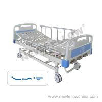 Quality Manual Three Crank Medical Hospital Bed with Foldaway Aluminum Alloy Guardrail , Center Control Brake for sale
