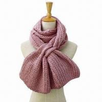 China Scarf in Various Materials/Colors/Sizes, Made of Woolen Yarn, Knitted Neck Warmer, Solid Color on sale