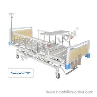 Quality Manual Three Crank Medical Hospital Beds With Foldaway Guardrail , Overbed Table , Center Control Brake for sale