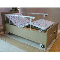 Buy cheap Aluminum guard rails two cranks manual care bed with wood bed frame from wholesalers