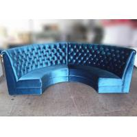 Best Blue Velvet Restaurant Booth Furniture , Fully Upholstered Half Moon Sofa Booth wholesale