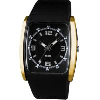 Best Black Gold Square Plastic Quartz Mens Analog Watch Waterproof CE ROHS wholesale