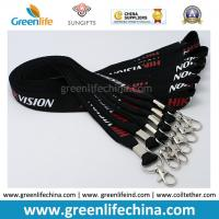 Quality China Custom Silk Nylon Unique Logo lanyard Black Color 20mm Width w/Thumb Hook for sale