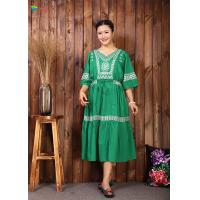 Quality Fashionable Tunic Green Embroidered Cotton Maxi Dress Aunty Shrink For Summer for sale