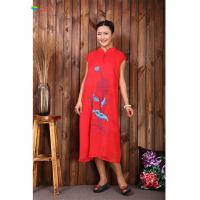 Quality Sleeveless Women Red Embroidered Cotton Dress With Cheongsam Type Buckle for sale