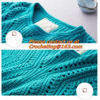 China Crochet, Knitted Pullover Women Fashion O-neck Hallow Out Tricot Crochet Medium-Long Wool Sweater Dress on sale