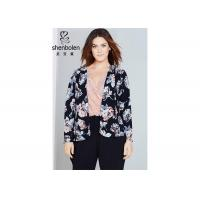 China Trendy Floral Print Plus Size Ladies Clothing For Young Women Open Front Waterfall Jacket on sale