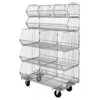 Quality Mobile Chrome Stackable Wire Basket Rack For Medical Articles With 5 Bins Hospital for sale